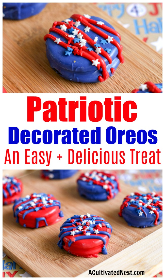 Patriotic Decorated Oreos- If you want a quick and easy treat that's perfect for a big crowd on the 4th of July or Memorial Day, then you need to try these! Not only are these decorated Oreos patriotic and pretty, but they're super tasty, too! | 4th of July recipes, red, white, and blue dessert ideas, candy covered Oreos, #4thOfJuly #MemorialDay #dessert #ACultivatedNest
