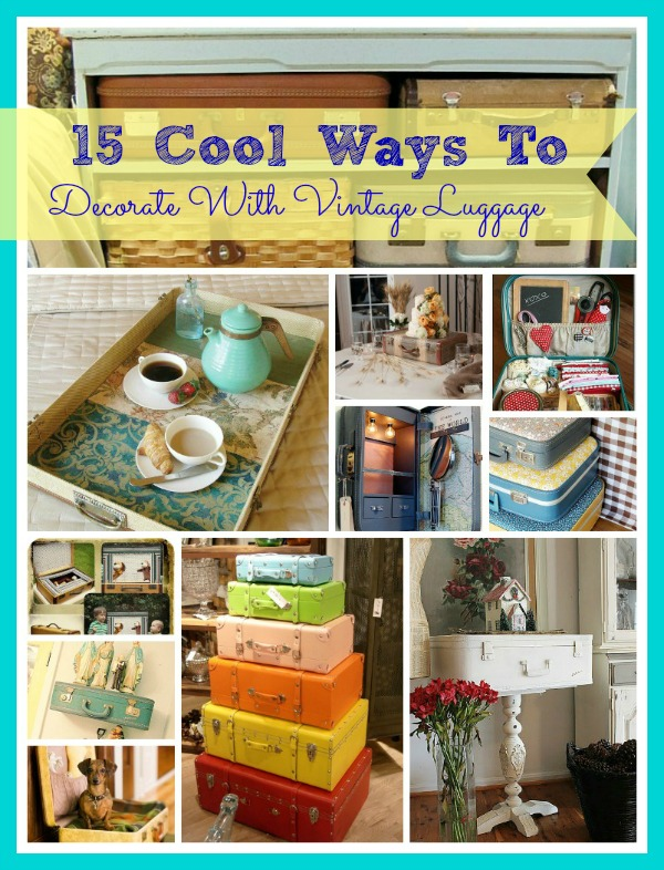 15 Cool Ways To Decorate With Vintage Luggage- Don't let any old luggage you have sit around collecting dust. Instead, upcycle your old suitcases with these 15 genius ways to repurpose old luggage! | #upcycle #repurpose #reuse #recycle #ACultivatedNest