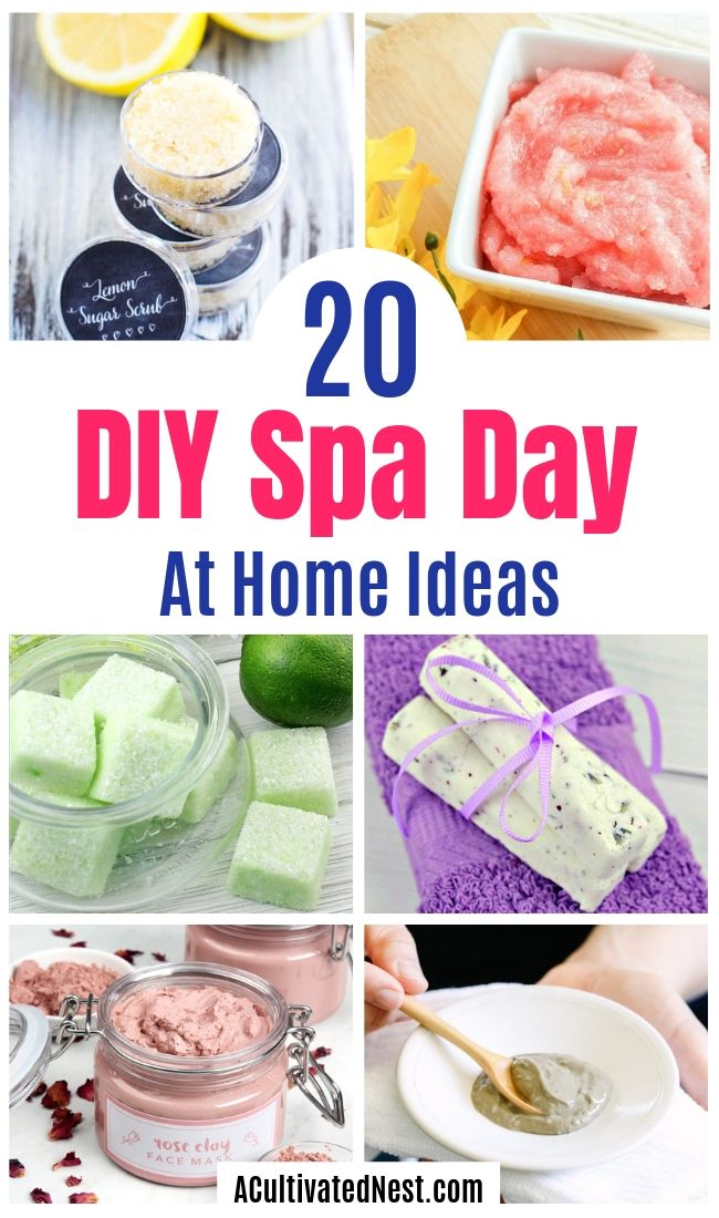 20 DIY Spa Day At Home Ideas- You don't need to spend money at a commercial spa when you know these DIY spa day at home beauty product recipes and tips! You'll be relaxed (and looking beautiful) in no time! | homemade beauty products, DIY beauty products, sugar scrub, bath salts, body butter, #spa #spaDayAtHome #DIY #beauty #ACultivatedNest