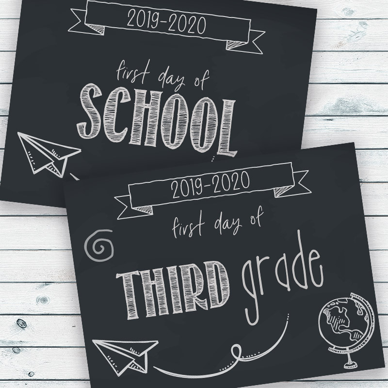 Free Printable First Day of School Signs- Make your first day of school photos even more special by having your kids hold up these free printable first day of school signs! | first day of homeschool, first day of preschool, first day of kindergarten, first day of middle school, first day of high school, 2019 back to school, #freePrintable #printable #backToSchool #firstDayOfSchool #ACultivatedNest