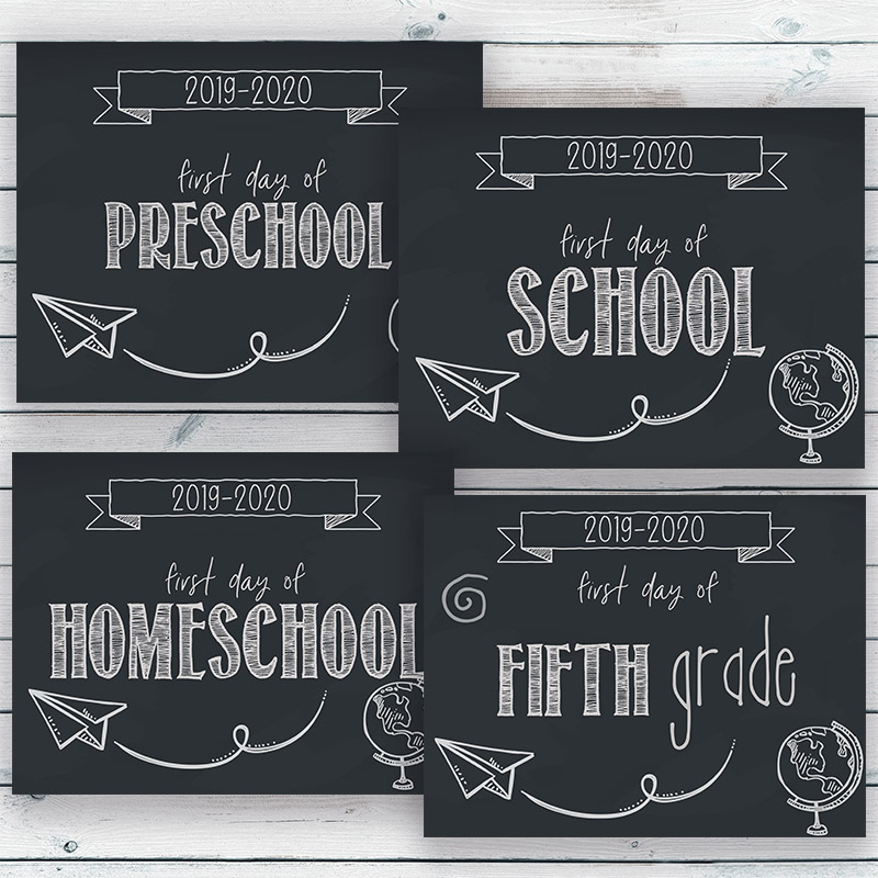 First Day of School Sign Free Printables- Make your first day of school photos even more special by having your kids hold up these free printable first day of school signs! | first day of homeschool, first day of preschool, first day of kindergarten, first day of middle school, first day of high school, 2019 back to school, #freePrintable #printable #backToSchool #firstDayOfSchool #ACultivatedNest