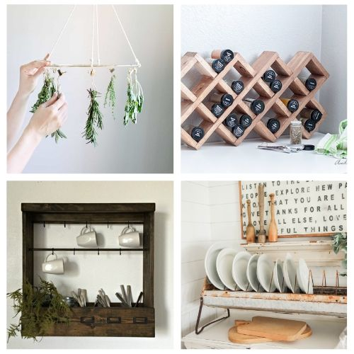 20 Unique DIY Kitchen Organization Solutions- If you want to add more storage to your kitchen on a budget, then you need to check out these 20 gorgeous DIY kitchen storage racks! | DIY coffee mug rack, DIY spice rack, DIY plate rack, #organization #organizingTips #DIY #kitchenOrganization #ACultivatedNest