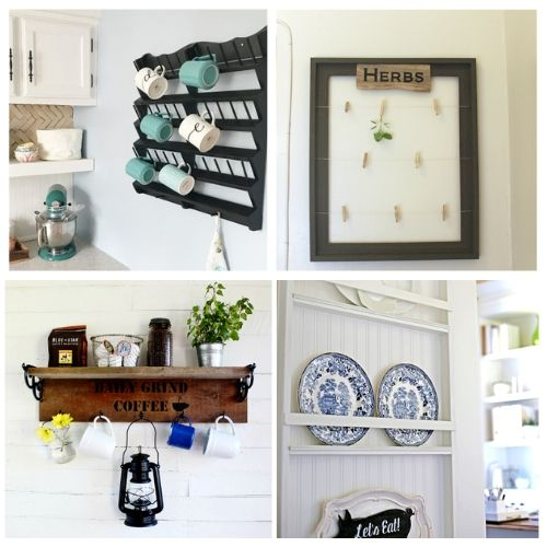 20 Unique DIY Kitchen Organizing Solutions- If you want to add more storage to your kitchen on a budget, then you need to check out these 20 gorgeous DIY kitchen storage racks! | DIY coffee mug rack, DIY spice rack, DIY plate rack, #organization #organizingTips #DIY #kitchenOrganization #ACultivatedNest