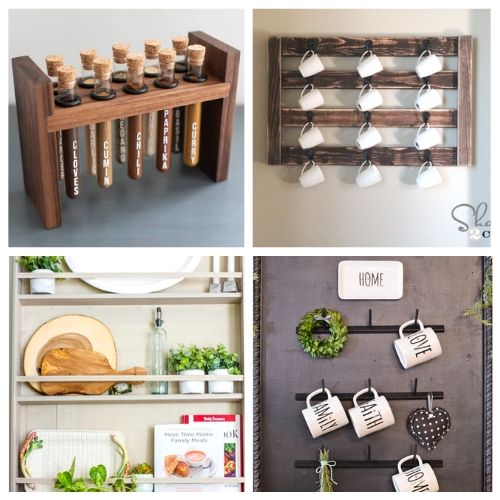 20 Genius Kitchen Storage DIYs- If you want to add more storage to your kitchen on a budget, then you need to check out these 20 gorgeous DIY kitchen storage racks! | DIY coffee mug rack, DIY spice rack, DIY plate rack, #organization #organizingTips #DIY #kitchenOrganization #ACultivatedNest