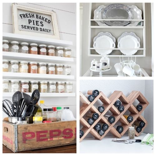 20 Unique DIY Kitchen Storage Racks- If you want to add more storage to your kitchen on a budget, then you need to check out these 20 gorgeous DIY kitchen storage racks! | DIY coffee mug rack, DIY spice rack, DIY plate rack, #organization #organizingTips #DIY #kitchenOrganization #ACultivatedNest