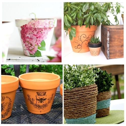 24 Beautiful DIY Terracotta Pots- Turn your terracotta pots from drab to fab with inspiration from these 24 gorgeous ways to decorate terracotta pots! You have to try these DIY terracotta pot makeovers! | how to paint terra cotta pots, how to update terra-cotta pots, #DIYProject #terracottaPots #flowerPots #craft #ACultivatedNest