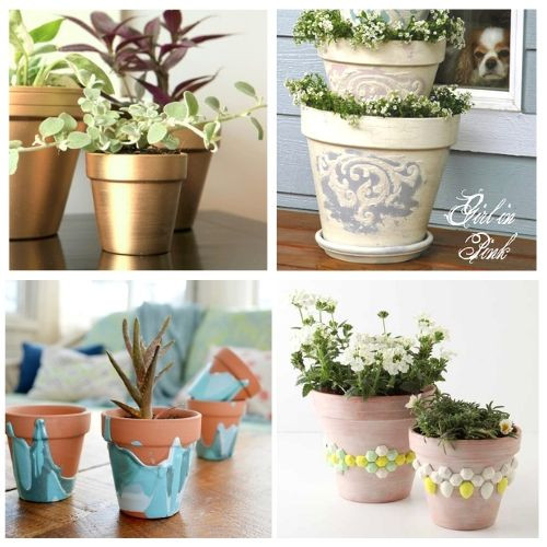 24 Beautiful Terracotta Pots DIYs- Turn your terracotta pots from drab to fab with inspiration from these 24 gorgeous ways to decorate terracotta pots! You have to try these DIY terracotta pot makeovers! | how to paint terra cotta pots, how to update terra-cotta pots, #DIYProject #terracottaPots #flowerPots #craft #ACultivatedNest