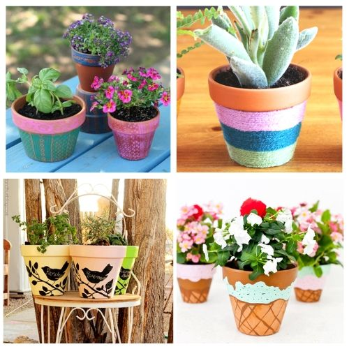 How to Paint Terracotta Pots- Turn your terracotta pots from drab to fab with inspiration from these 24 gorgeous ways to decorate terracotta pots! You have to try these DIY terracotta pot makeovers! | how to paint terra cotta pots, how to update terra-cotta pots, #DIYProject #terracottaPots #flowerPots #craft #ACultivatedNest