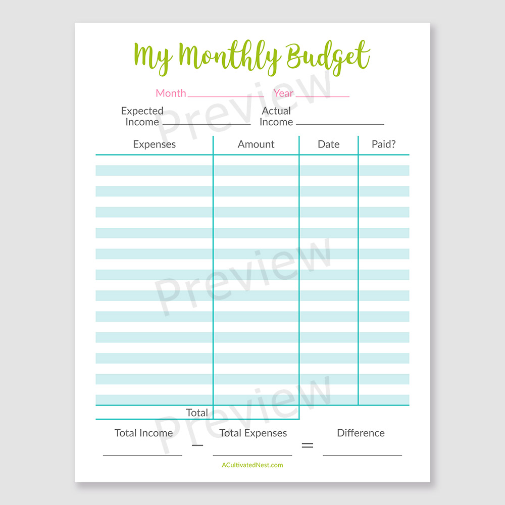 photo regarding Budget Planner Printable named Printable Uncomplicated Spending plan Template