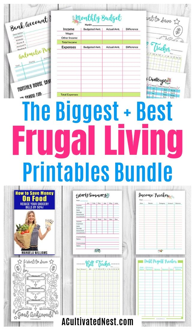 The Big Money Saving Bundle- This Big Money Saving Bundle includes the very best of my frugal living and budgeting worksheets! 50+ pages included, plus an eBook! | personal finance printables, budgeting worksheets, budget templates, #printables #frugal #budgeting #moneySavingTips #ACultivatedNest