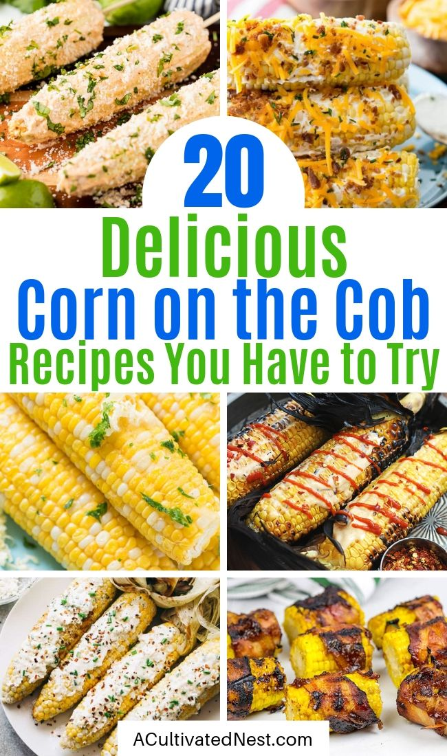 20 Mouthwatering Corn On the Cob Recipes- Want a delicious corn recipe to serve at your next gathering? You have to try these mouthwatering corn on the cob recipes! They're super easy to make, and are sure to be a hit addition to any meal! | Mexican corn recipe, grilled street corn, #cornOnTheCob #recipe #sideDish #corn #ACultivatedNest