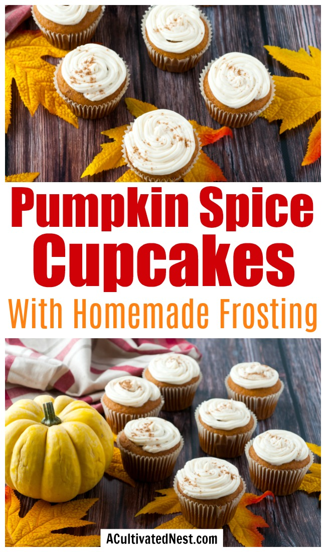 Pumpkin Spice Cupcakes with Cream Cheese Frosting- Nothing tastes more like fall than these delicious pumpkin spice cupcakes! Homemade cream cheese frosting recipe included! | baking recipes, homemade baked goods, homemade frosting, ways to use up pumpkin puree, #recipe #dessertRecipe #baking #cupcakes #ACultivatedNest