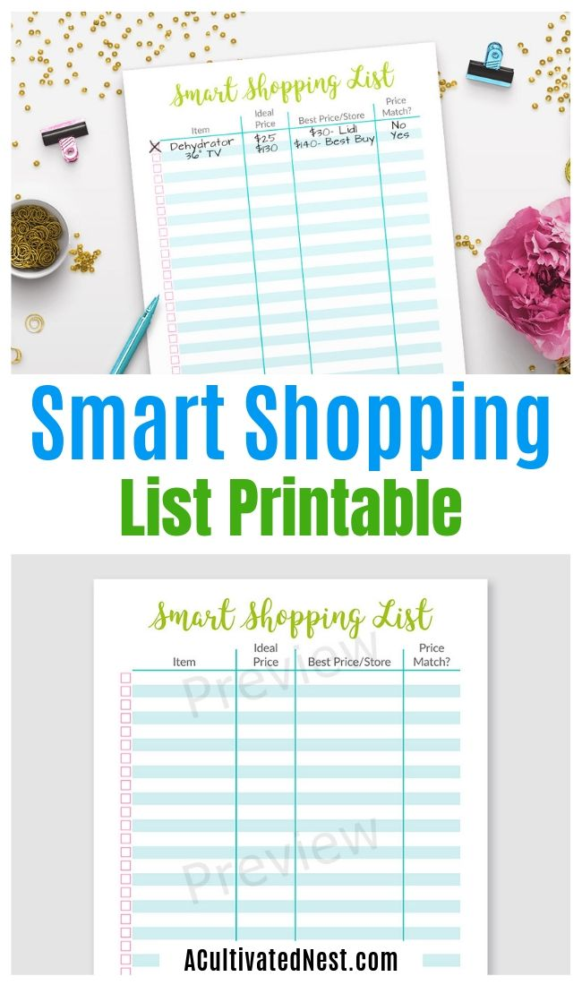 Printable Smart Shopping List- Using a list is critical to frugal shopping. But if you want something even better, you have to use this printable smart shopping list! | #frugalLiving #shopping #printable #shoppingList #ACultivatedNest