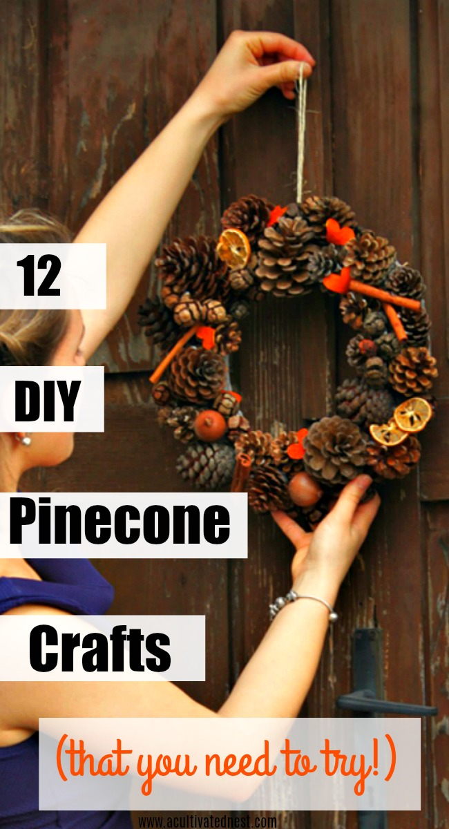 12 Awesome DIY Pinecone Crafts - If you're looking for inexpensive craft materials, you can't find anything better than materials that you can just pick up outside! One of my favorite natural fall materials is pinecones! If you're looking for easy and frugal ways to had some rustic decor to your home for fall or winter, then try some of these 12 DIY Pinecone Crafts! #crafts #diyhomedecor #fallcrafts #wintercrafts #pinecones #acultivatednest