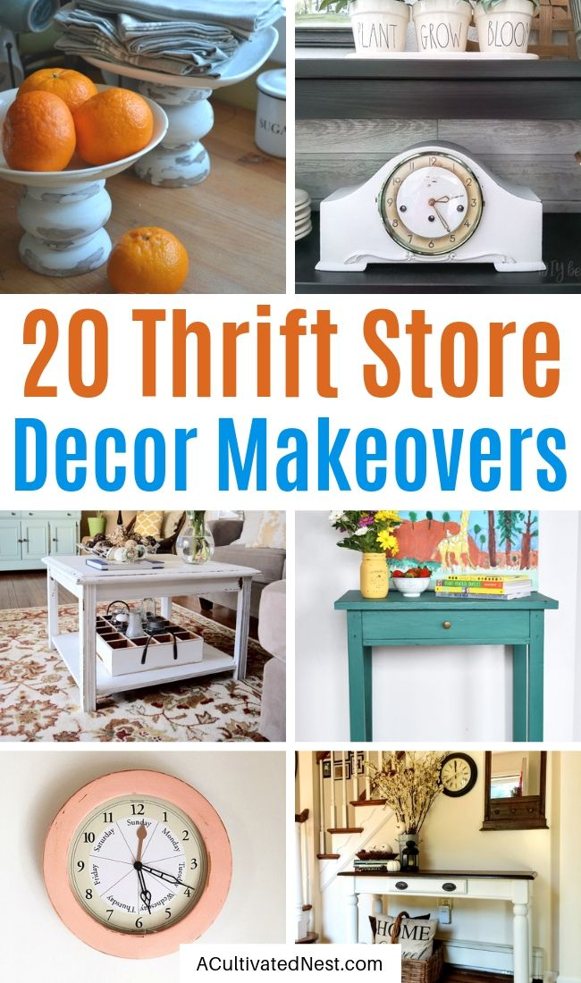 20 Fantastic Thrift Store Decor Makeovers- You can transform your space on a budget with these beautiful thrift store decor makeovers! There are so many ways you can upcycle furniture and other accessories! | #thriftStoreDecor #DIY #craft #upcycle #ACultivatedNest