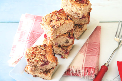 White Chocolate Cherry Cake Recipe- For a tasty treat, make this white chocolate cherry snack cake! This delicious cherry cake is easy to make and is sure to be a crowd pleaser! | #baking #cake #recipe #dessert #ACultivatedNest