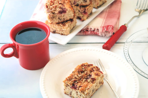 White Chocolate Cherry Cake Dessert Recipe- For a tasty treat, make this white chocolate cherry snack cake! This delicious cherry cake is easy to make and is sure to be a crowd pleaser! | #baking #cake #recipe #dessert #ACultivatedNest