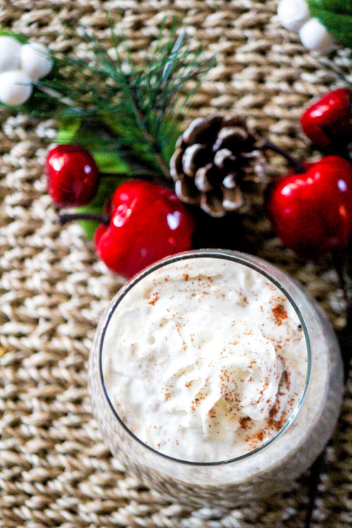 Chocolate Peppermint Eggnog Recipe- This is the ultimate list of easy and delicious Christmas drink recipes. Serve them at your next holiday party and everyone will rave about them for sure! | holiday drink recipes, nonalcoholic drinks, kid friendly drinks, hot drinks, cold drinks, #recipe #drinks #ChristmasDrinks #alcoholicDrinks #ACultivatedNest