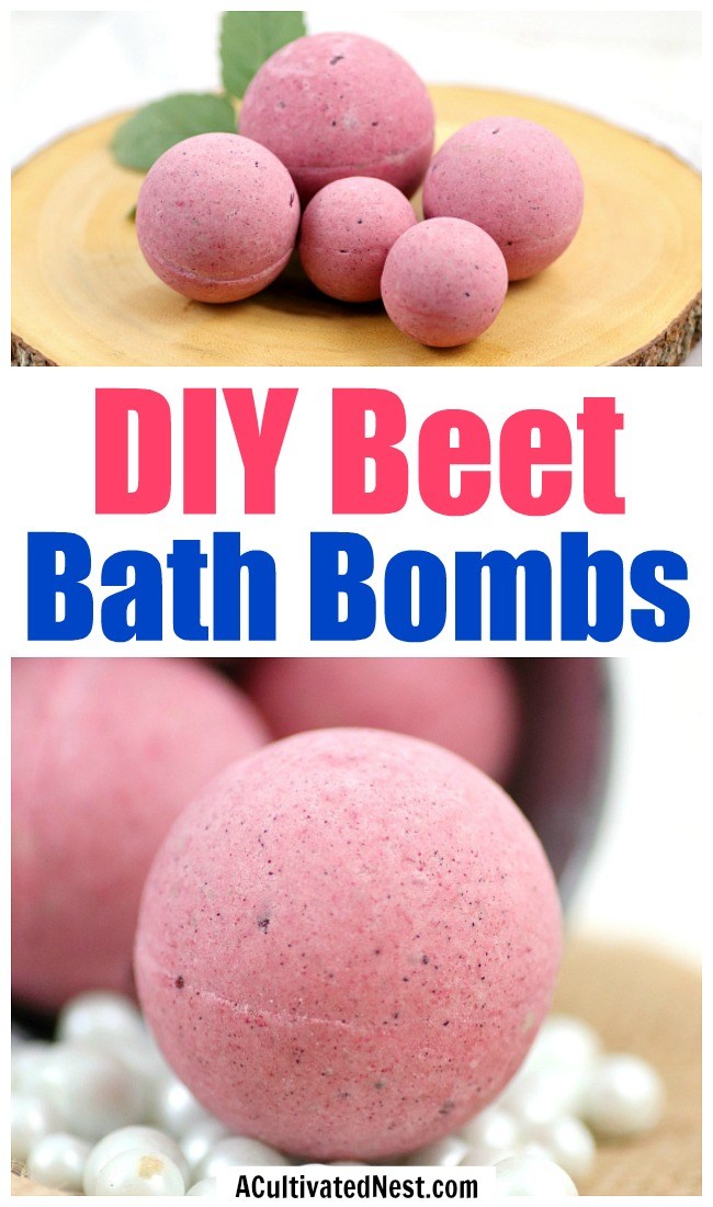 DIY Beet Bath Bombs- These homemade bath bombs are the perfect way to relax after a long day and make wonderful homemade gifts. Plus, they're naturally colored with beets, so they're completely dye free! | #beauty #bathBomb #DIY #homemadeGift #ACultivatedNest