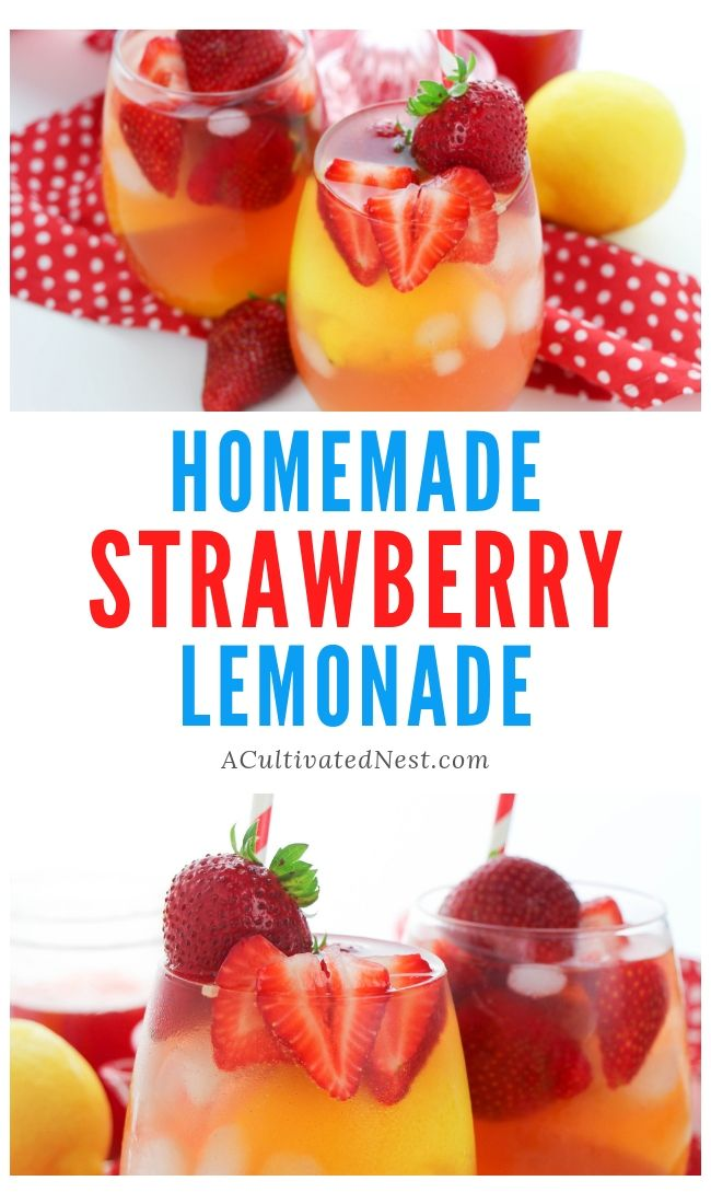 Homemade Strawberry Lemonade- This easy homemade strawberry lemonade recipe is quick to make, tastes delicious, and is made without refined sugar! | how to make lemonade, cold drink recipes, #drinkRecipe #recipe #strawberryLemonade #strawberry #ACultivatedNest