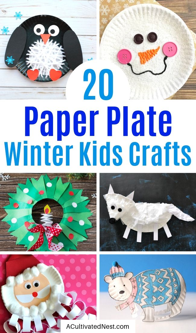 20 Adorable Paper Plate Winter Crafts for Kids- Keep your kids busy this winter with these creative and cute paper plate winter crafts for kids! They will love putting together polar bears, penguins, and more! | #kidsCraft #paperPlateCrafts #crafts #winterCrafts #ACultivatedNest