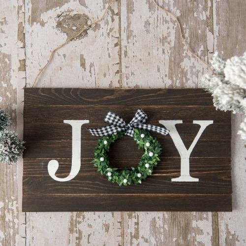 Charming Rustic DIY Joy Sign- This DIY joy sign is beautiful and looks great with all your holiday decorations. Plus, it's very easy and inexpensive to make! | rustic Christmas decor, #DIY #craft #Christmas #holidayDecor #ACultivatedNest