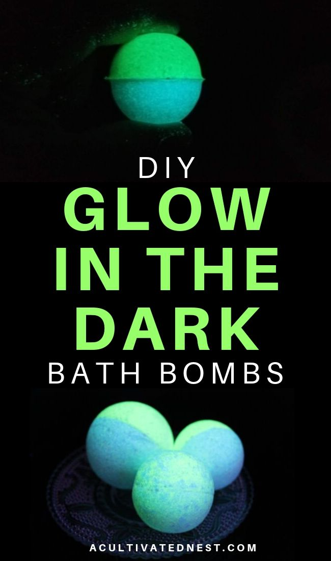 DIY Glow in the Dark Bath Bombs- If you want to use a really fun bath bomb, you need to make these DIY glow in the dark bath bombs! They're so easy to make! Plus, they make a wonderful homemade gift! | how to make glowing bath bombs, Halloween bath bombs, #bathBomb #DIY #craft #beauty #ACultivatedNest