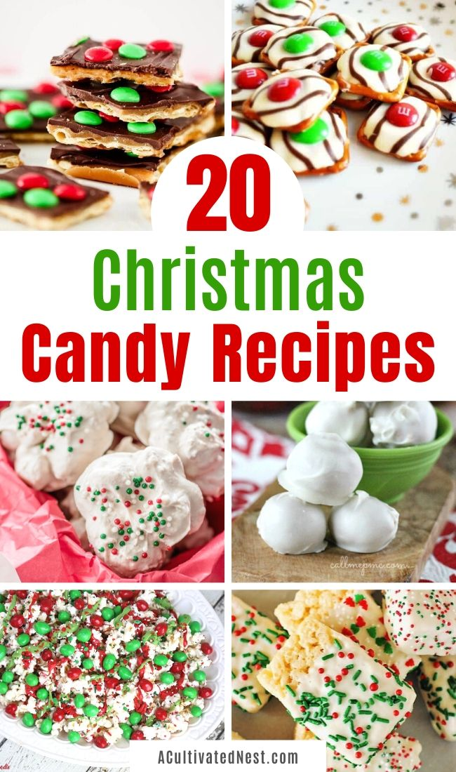 20 Homemade Christmas Candy Recipes- If you want something special to add to your holiday party dessert table, then you have to make some of these delicious homemade Christmas candy recipes. They're easy to make and look so festive! | holiday candy recipes, red and green candy to make, Christmas desserts, #ChristmasRecipes #candyRecipe #recipes #dessertRecipe #ACultivatedNest