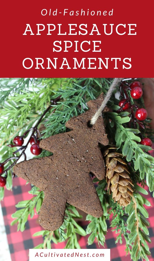 Old-Fashioned Applesauce Spice Ornaments- Bring an old-fashioned, rustic touch to your Christmas tree this year with these homemade old-fashioned applesauce spice ornaments! They're beautiful, easy to make, and smell amazing! | #ChristmasOrnaments #DIY #ChristmasCraft #DIYOrnaments #ACultivatedNest