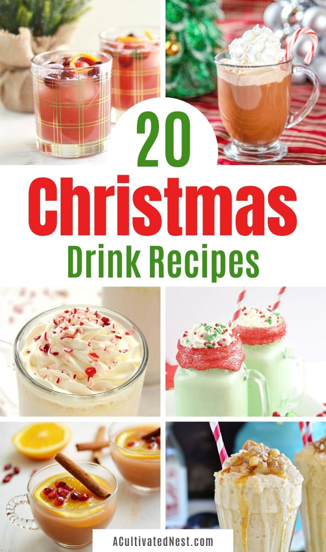 20 Christmas Drink Recipes- If you want to serve the perfect drink at your holiday party, you need to check out this huge list of easy and delicious Christmas drink recipes! You're sure to find several new favorites! | holiday drink recipes, alcoholic drinks, kid friendly drinks, hot drinks, cold drinks, #ChristmasRecipes #drinkRecipe #ChristmasDrinks #nonalcoholicDrinks #ACultivatedNest