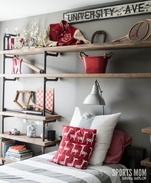 DIY Bed Surround Shelving- If you want to organize your bedroom on a budget, check out these 10 clever bedroom storage ideas! They'll make your bedroom inviting and so relaxing! | DIY organizers, DIY bedroom storage solutions, #organization #organizingTips #bedroomOrganization #organize #ACultivatedNest