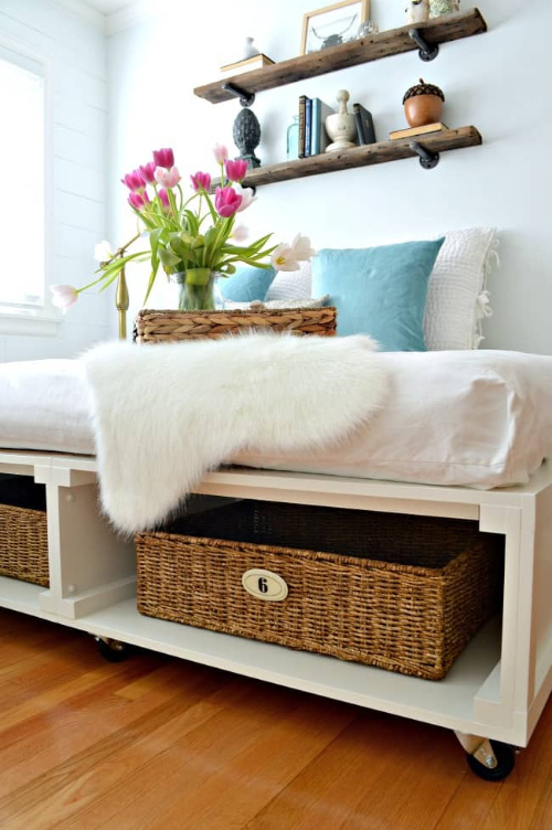 DIY Platform Bed- If you want to organize your bedroom on a budget, check out these 10 clever bedroom storage ideas! They'll make your bedroom inviting and so relaxing! | DIY organizers, DIY bedroom storage solutions, #organization #organizingTips #bedroomOrganization #organize #ACultivatedNest