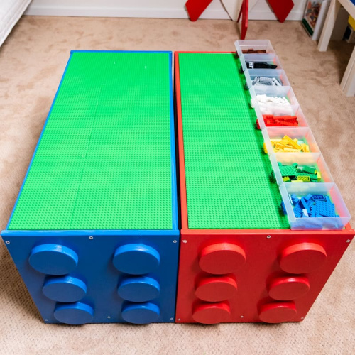 IKEA Lego Table Hack- Tired of toys lying everywhere? You and your kids need these creative DIY toy storage ideas! They're easy to implement and look nice too! | kids room organization, kids playroom organization, how to organize kids toys, #toyStorage #toyOrganization #organizingTips #organization #ACultivatedNest