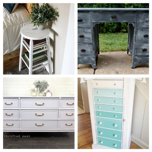 16 Inspiring Furniture Makeover DIYs- All of these inspiring DIY furniture makeovers are a lovely way to breathe life back into old furniture. And they're easy to do! | thrift store makeover, painted furniture, #DIY #furnitureMakeover #decor #diyProject #ACultivatedNest