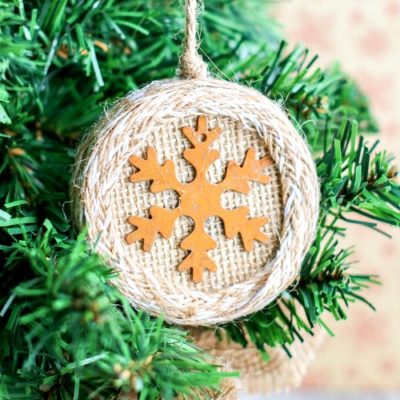 Burlap Mason Jar Lid Ornament Craft