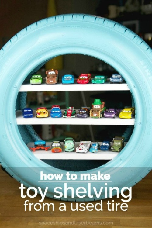 Car Tire Shelving- Tired of toys lying everywhere? You and your kids need these creative DIY toy storage ideas! They're easy to implement and look nice too! | kids room organization, kids playroom organization, how to organize kids toys, #toyStorage #toyOrganization #organizingTips #organization #ACultivatedNest