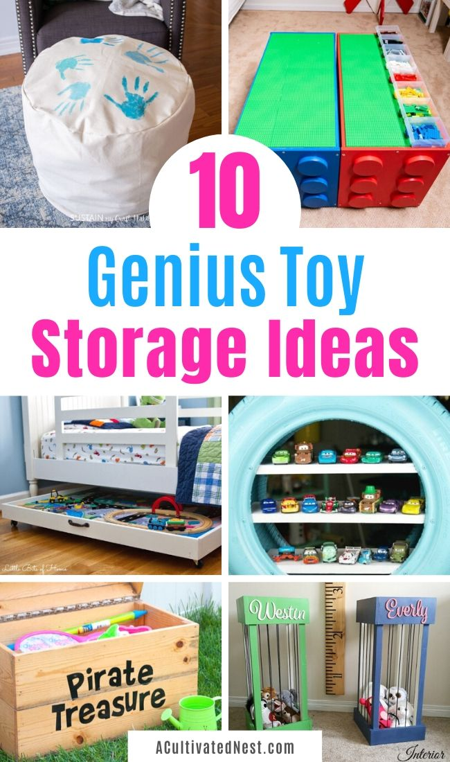 10 Creative DIY Toy Storage Ideas- It's not hard to keep toys organized, if you have the right storage solutions in place! If you're tired of toys lying everywhere, you need these easy DIY toy storage ideas! | kids room organization, kids playroom organization, how to organize kids toys, #toyStorage #toyOrganization #organizingTips #homeOrganization #ACultivatedNest