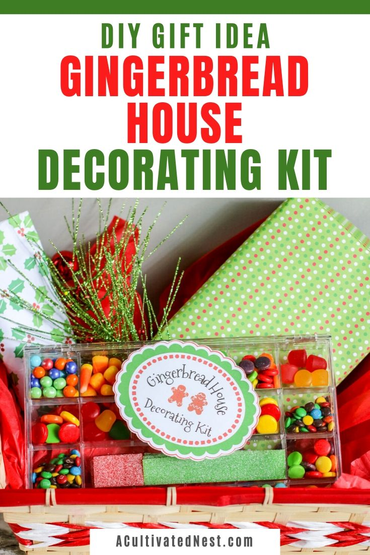 DIY Gingerbread House Decorating Kit Gift- If you want a unique homemade gift to give this year, give this DIY gingerbread house decorating kit gift! Everyone will love how easy it is to make their own gingerbread house with the help of this kit ! | #Christmas  #gingerbreadHouse #homemadeGift #diyGiftIdeas #ACultivatedNest