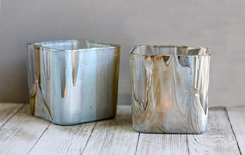 Stunning DIY Poured Paint Votives- These stunning DIY poured paint votives are so easy to make and easy to customize! Add a touch of elegance to your home with this painted votives craft! | #DIY #craft #diyProject #decor #ACultivatedNest
