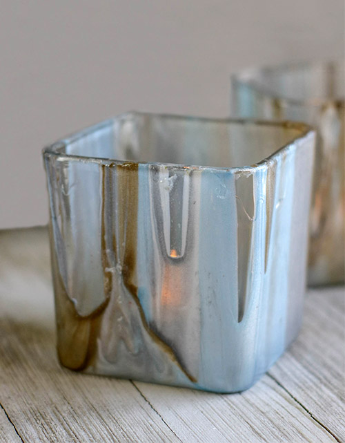Stunning DIY Painted Votives- These stunning DIY poured paint votives are so easy to make and easy to customize! Add a touch of elegance to your home with this painted votives craft! | #DIY #craft #diyProject #decor #ACultivatedNest