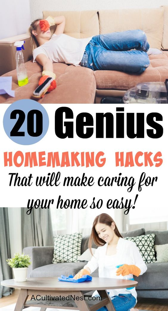 20 Genius Homemaking Hacks - If you're a busy homemaker, you need these 20 genius homemaking hacks and tips! These frugal ways to deal with common household chores will help you save a lot of time, and money! | #homemakingTips #cleaningTips #hacks #DIYCleaner #ACultivatedNest