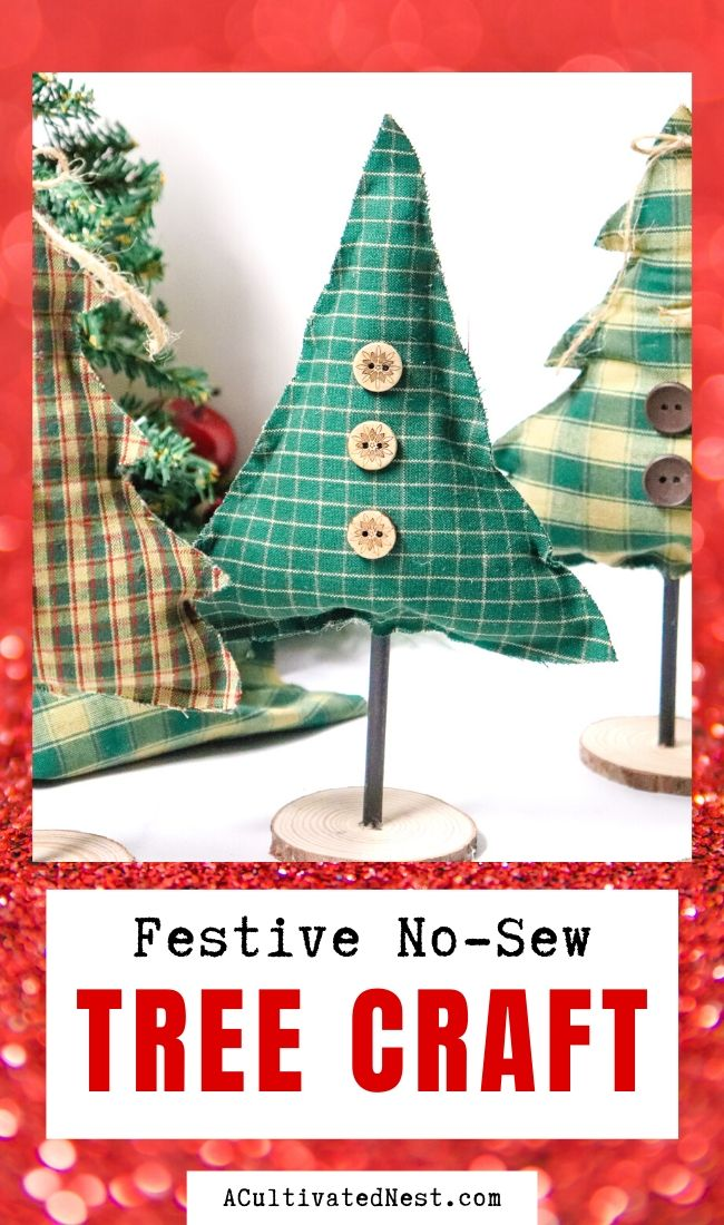 Festive No-Sew Tree Craft- You don't need to know how to sew to do this beautiful holiday no-sew tree craft! It's easy to make, and would be a lovely addition to your Christmas decor! | holiday decoration DIY, Christmas tree craft, #ChristmasCraft #ChistmasDIY #Christmas #craft #ACultivatedNest