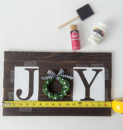 DIY Joy Rustic Sign- This DIY joy sign is beautiful and looks great with all your holiday decorations. Plus, it's very easy and inexpensive to make! | rustic Christmas decor, #DIY #craft #Christmas #holidayDecor #ACultivatedNest
