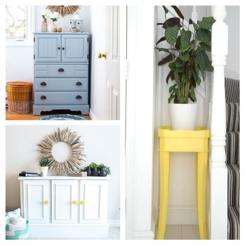 16 Inspiring DIY Furniture Makeovers- All of these inspiring DIY furniture makeovers are a lovely way to breathe life back into old furniture. And they're easy to do! | thrift store makeover, painted furniture, #DIY #furnitureMakeover #decor #diyProject #ACultivatedNest