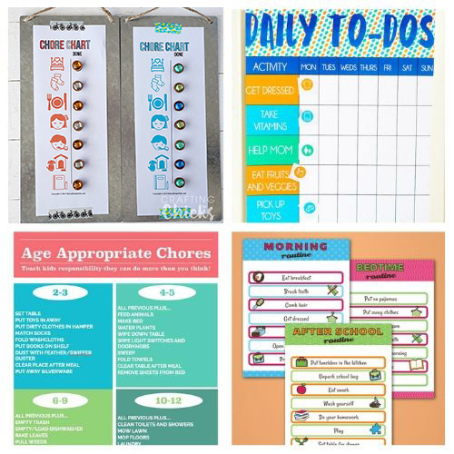 Printable + DIY Preschool Chore Charts- If you want to motivate your child to contribute and become responsible these 16 fun preschool chore charts are an easy way to do it! | #choreCharts #kidsChores #choreChartsForKids #chores #ACultivatedNest