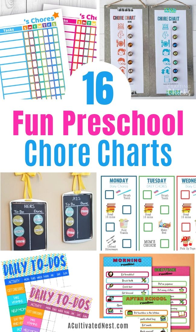 16 Fun Preschool Chore Charts- Want to help your children learn responsibility? Then you need to check out these 16 fun preschool chore charts! These DIY and printable chore charts are colorful and easy for young kids to use! | #choreCharts #choreChartsForKids #kidsChores #chores #ACultivatedNest