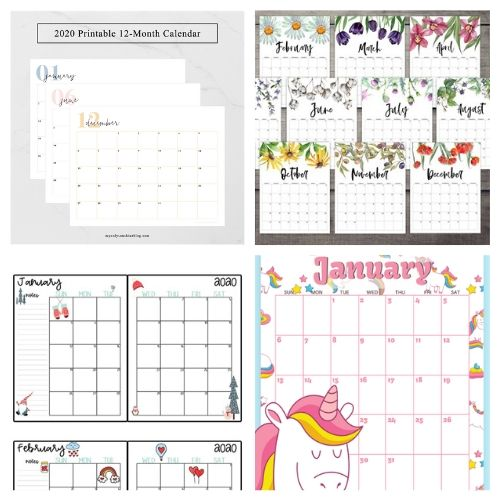 20 Free 2020 Printable Calendars- If you need a new calendar for 2020, you have to check out these 20 free printable 2020 calendars! There are so many fun and pretty designs to choose from! | #freePrintables #printableCalendar #printable #freePrintable #ACultivatedNest