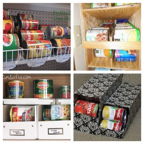 20 Creative Canned Food Storage Ideas- Try out these creative canned food organization ideas and you will be able to store more food! Plus, you'll be able to find what you have easier! | how to organize your pantry, organize your food stockpile, #organizingTips #foodStorage #organization #pantryOrganization #ACultivatedNest