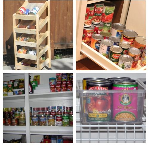 20 Creative Canned Goods Storage Ideas- Try out these creative canned food organization ideas and you will be able to store more food! Plus, you'll be able to find what you have easier! | how to organize your pantry, organize your food stockpile, #organizingTips #foodStorage #organization #pantryOrganization #ACultivatedNest