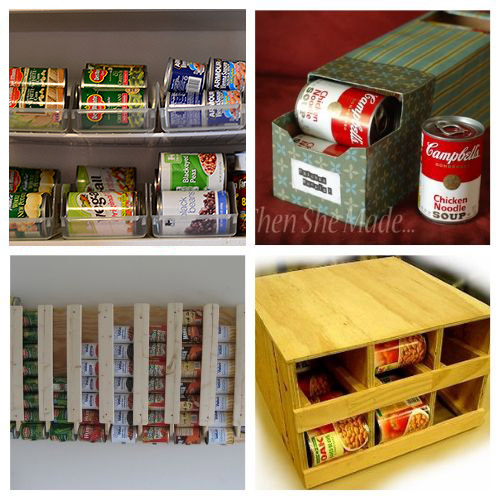 20 Creative Canned Food Organizers- Try out these creative canned food organization ideas and you will be able to store more food! Plus, you'll be able to find what you have easier! | how to organize your pantry, organize your food stockpile, #organizingTips #foodStorage #organization #pantryOrganization #ACultivatedNest